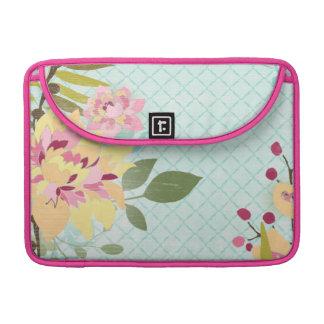 Floral Garden, Blue Background Sleeve For MacBook Pro