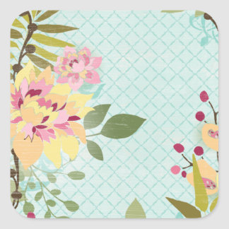 Floral Garden, Blue Background Square Sticker