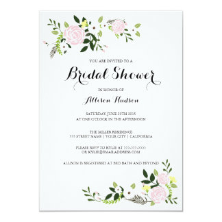 Floral Garden Bridal Shower Invitation -white