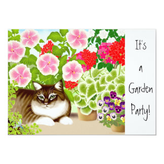 Floral Garden Cats Party Invitation
