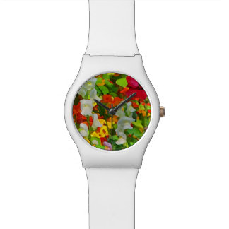 Floral Garden Colors Abstract Wrist Watches