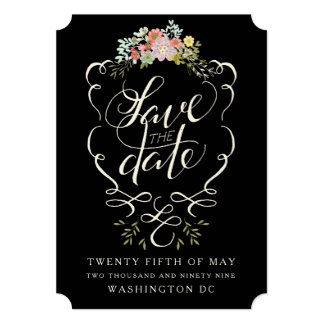 Floral Garden Hand Lettering Save the Date Cards 13 Cm X 18 Cm Invitation Card