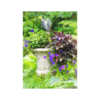 Floral Garden Urn Stretched Canvas Prints