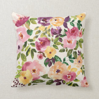 Floral Garden Watercolor Cushion