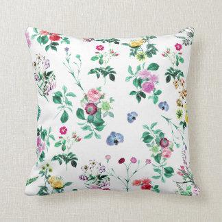 Floral Garden White Throw Cushions