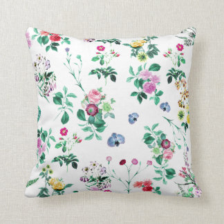 Floral Garden White Throw Pillow