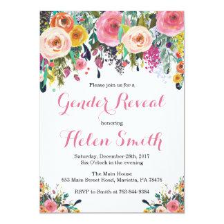 Floral Gender Reveal  Invitation Card Watercolor