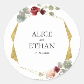 Floral Geometric Burgundy And Greenery Wedding Classic Round Sticker