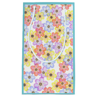 Floral Gift Bag- Blue Small Gift Bag