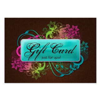 Floral Gift Card Garden Blue Brown Linen Pack Of Chubby Business Cards