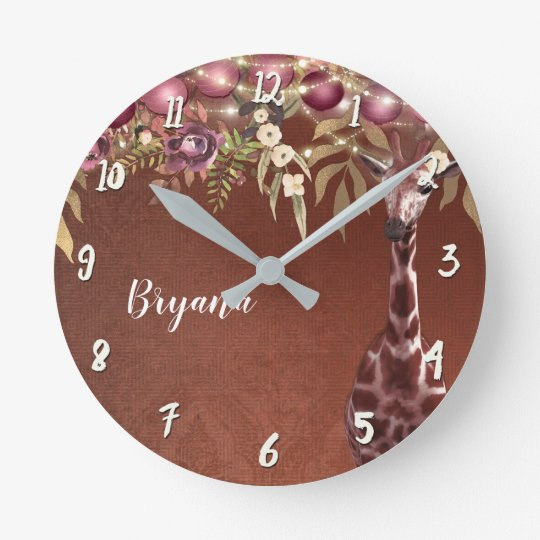 Floral Giraffe Rustic Brown Chic Personalised Round Clock