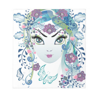 Floral Girl Face3 Notepad