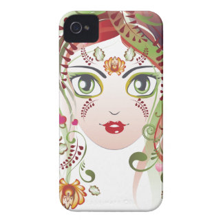 Floral Girl Face 2 Case-Mate iPhone 4 Case