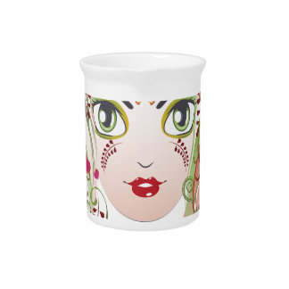 Floral Girl Face 2 Pitcher