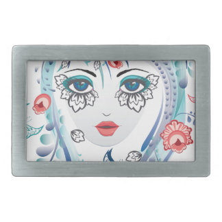 Floral Girl Face Rectangular Belt Buckles