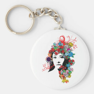 Floral Girl Keychain