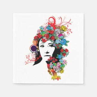 Floral Girl Paper Napkins Disposable Napkin