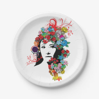 Floral Girl Paper Plates 7 Inch Paper Plate