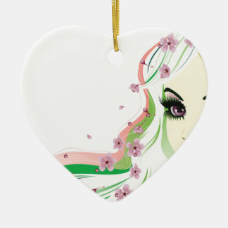 Floral Girl with White Hair 2 Ceramic Heart Decoration