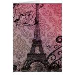 Floral girly elegant Eiffel Tower vintage Paris Greeting Card