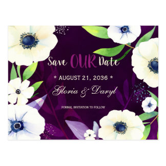 Floral Glam Purple Wedding Save the Date Postcard