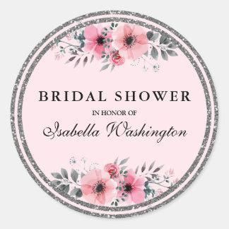 Floral Glam Silver Glitter Border Bridal Shower Round Sticker