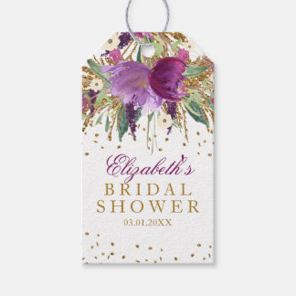 Floral Glitter Amethyst Bridal Shower Gift Tags