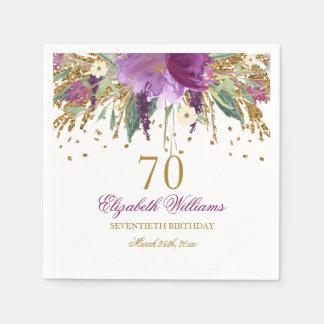 Floral Glitter Sparkling Amethyst 70th Birthday Disposable Napkin