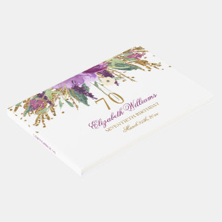 Floral Glitter Sparkling Amethyst 70th Birthday Guest Book