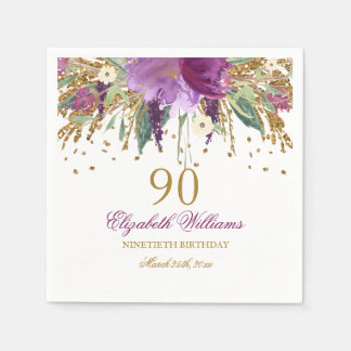 Floral Glitter Sparkling Amethyst 90th Birthday Disposable Serviette