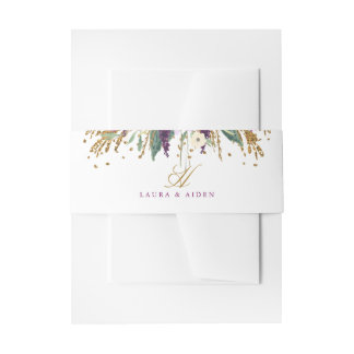 Floral Glitter Sparkling Amethyst Belly Band Invitation Belly Band
