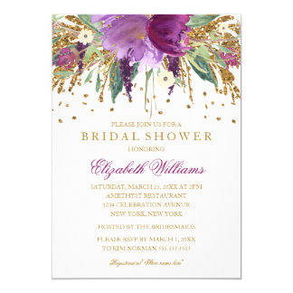 Floral Glitter Sparkling Amethyst Bridal Shower 13 Cm X 18 Cm Invitation Card