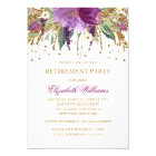 Floral Glitter Sparkling Amethyst Retirement Party Card