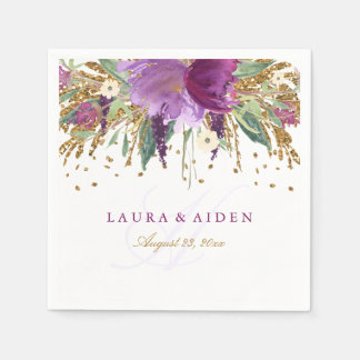 Floral Glitter Sparkling Amethyst Wedding Napkin Paper Napkin
