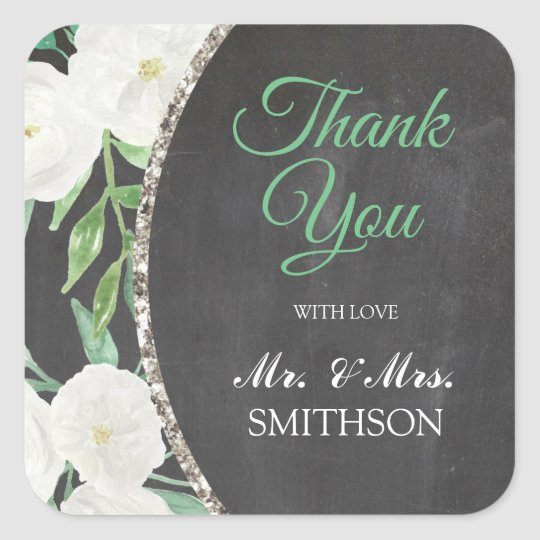 Floral Glitter Watercolor Flower Thank You Sticker