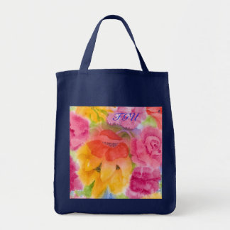 Floral Glory Uno Initialed Grocery Tote