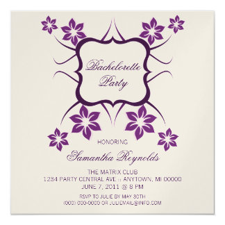 Floral Goddess Bachelorette Party Invite, Purple Card