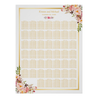 Floral Gold | 40+ Tables Wedding Seating Chart