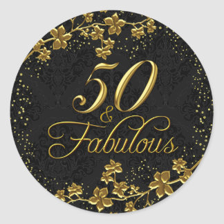 Floral Gold 50 & Fabulous Birthday Party Sticker