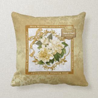 Floral Gold  50th Wedding Anniversary Cushion
