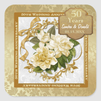 Floral Gold  50th Wedding Anniversary Square Sticker