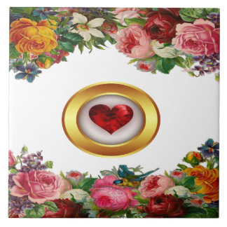 Floral Gold and Red Heart Ceramic Tile