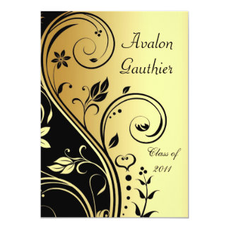 Floral Gold & Black Scroll Graduation Invitation