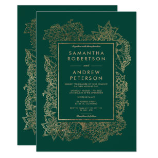 Floral Gold Emerald Green Wedding Invitation