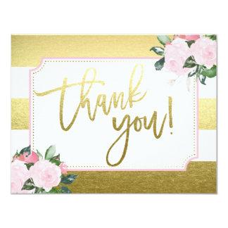 Floral Gold Faux Foil | Thank You 11 Cm X 14 Cm Invitation Card