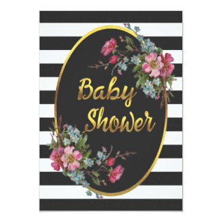 Floral Gold Foil Baby Shower Black White Stripes Card