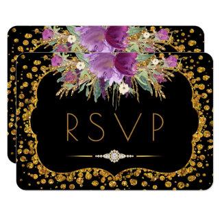 Floral Gold Glitter Confetti Black RSVP Card