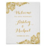 Floral Gold Lace Pattern Wedding Reception Sign
