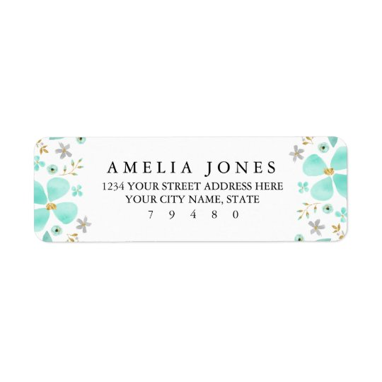 Floral Gold Mint Leaf Return Address Label