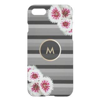 Floral Gold Monogram Black Striped iPhone 7 Case